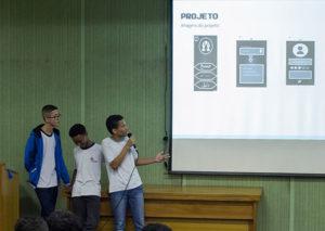 Alunos apresentam o projeto utilizando o projetor